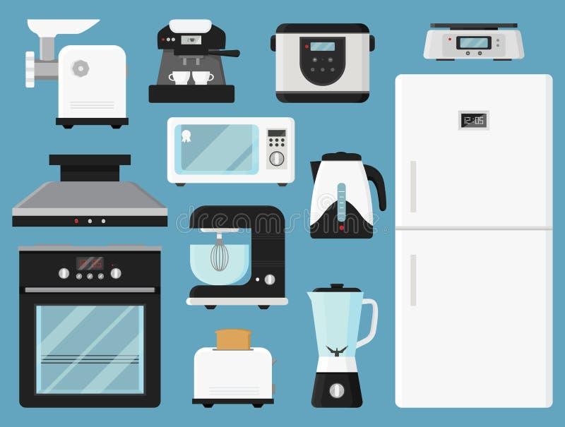 Uppsättning av kökanordningar Olik hushållutrustning Elektroniska apparater Modernt teknologitema Isolerade plana vektorsymboler stock illustrationer