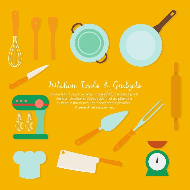 Uppsättning av kökredskapet och samling av cookwaresymboler och att laga mat hjälpmedel och kitchenwareutrustning stock illustrationer