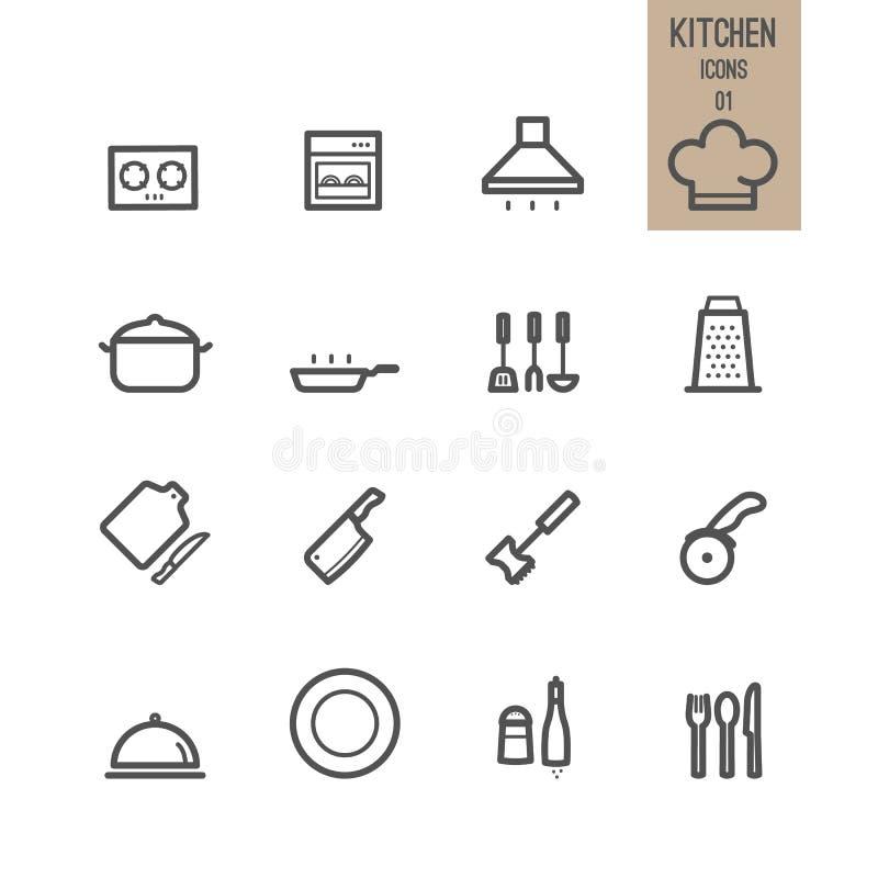 Uppsättning av köksymbolen stock illustrationer