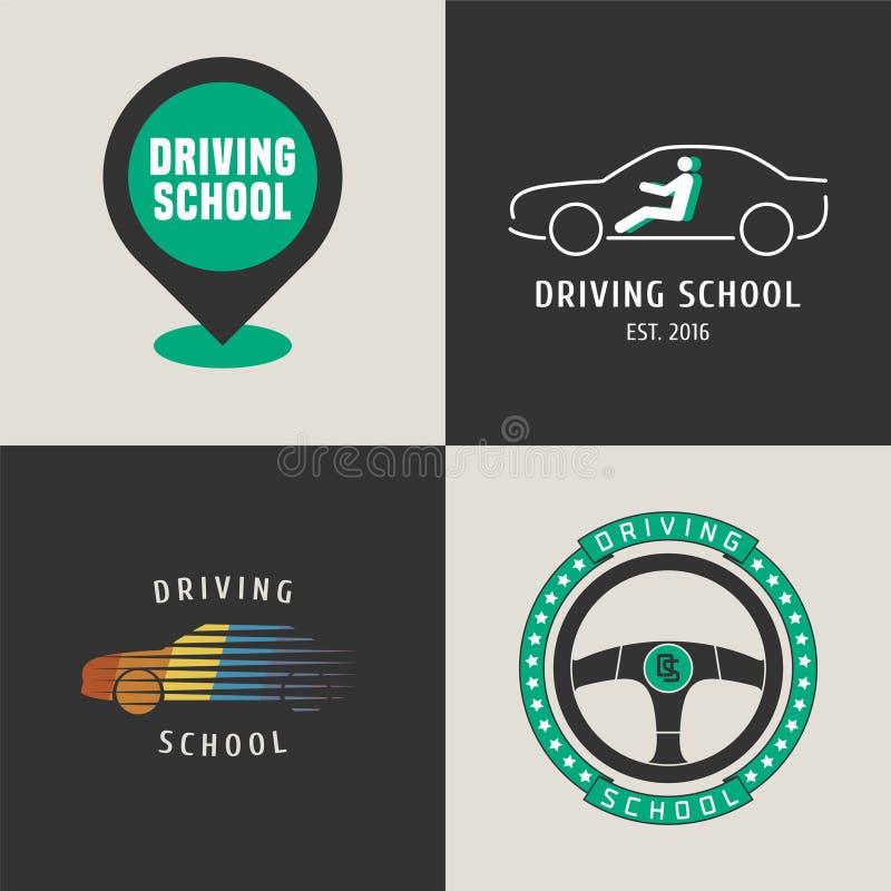 Uppsättning av körskolavektorlogoen vektor illustrationer