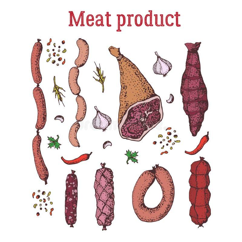 Uppsättning av köttprodukten med kryddor Isolerat på vit tecknad hand stock illustrationer