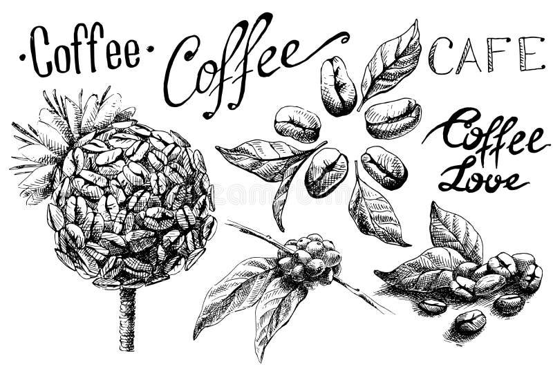 Uppsättning av kaffebönor och sidor och kopp royaltyfri illustrationer