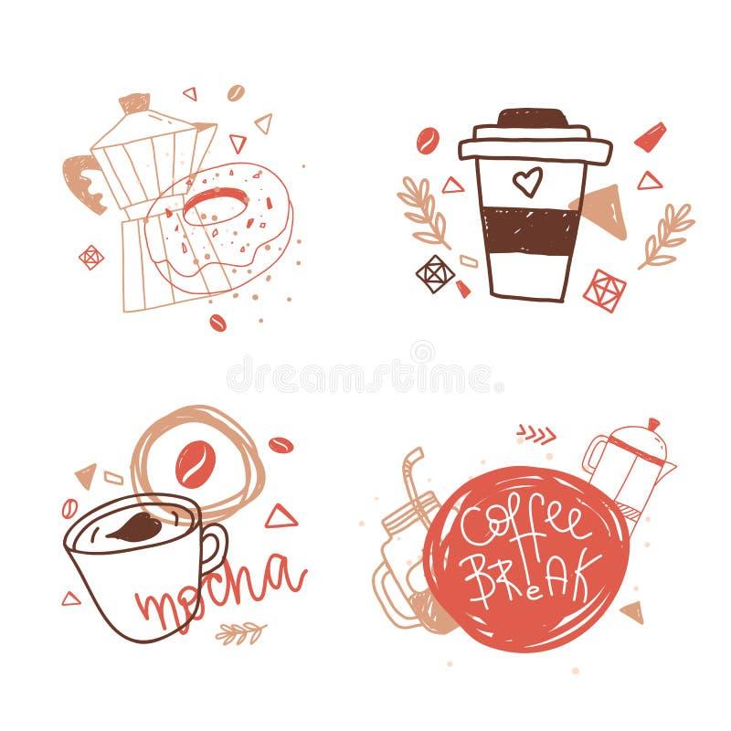 Uppsättning av kaffeetiketter med bokstäver i den moderna linjen konststil för kaféidentiteten, affischer, baner royaltyfri illustrationer