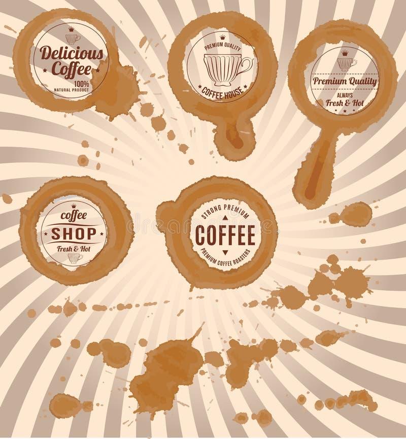 Uppsättning av kaffefläckar med stämplar och färgstänk royaltyfri illustrationer