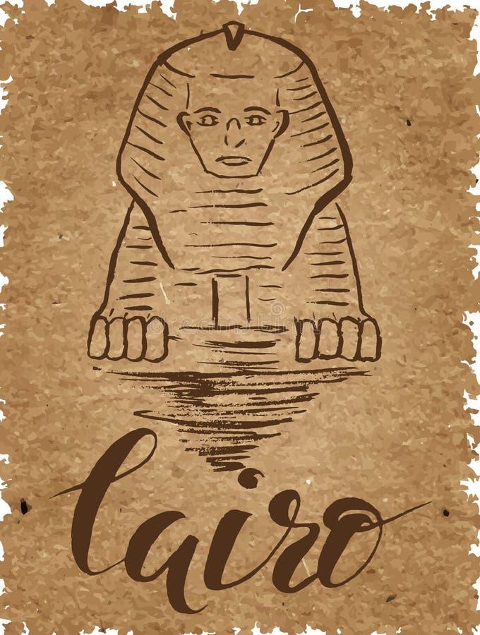 Uppsättning av Kairoetiketten med den hand drog sfinxen som märker Kairo på ett kraft papper som märker vid en borstepenna royaltyfri illustrationer