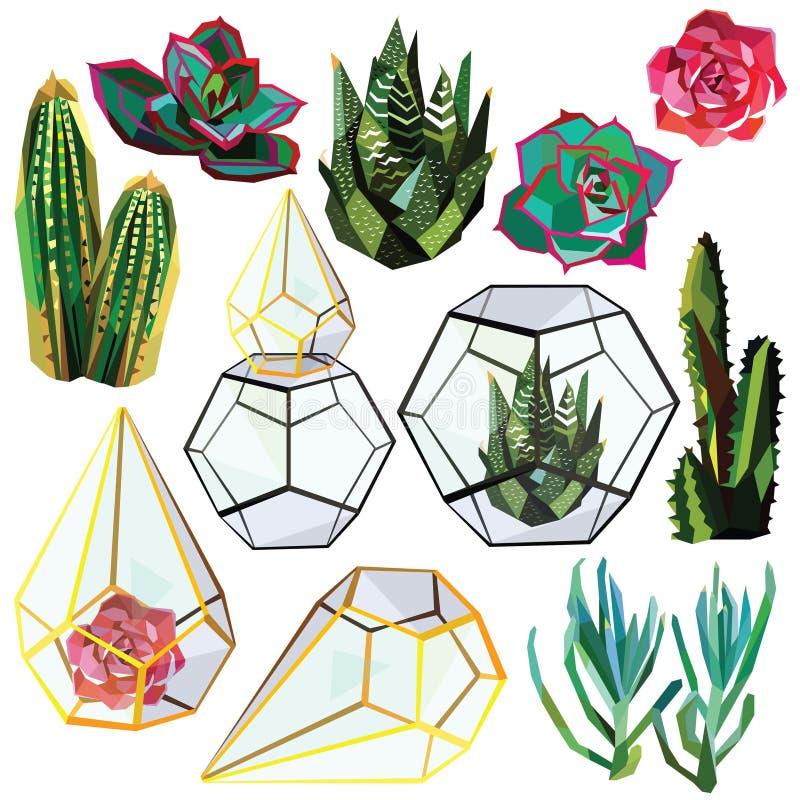 Uppsättning av kaktuns stock illustrationer