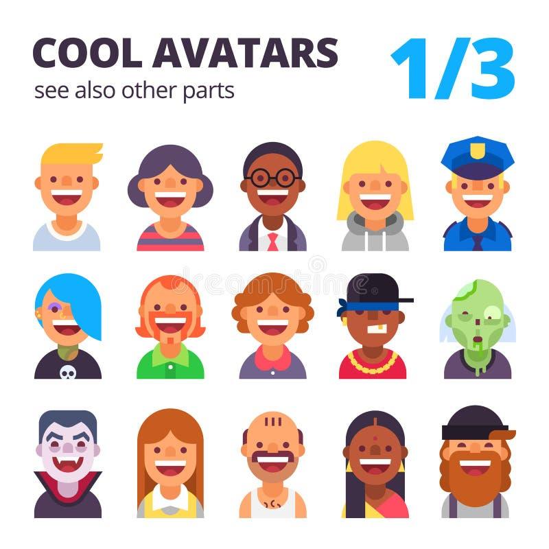 Uppsättning av kalla plana avatars royaltyfri illustrationer