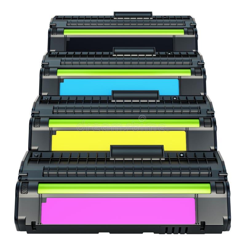 Uppsättning av kassetter för färglaser-färgpulver, tolkning 3D royaltyfri illustrationer