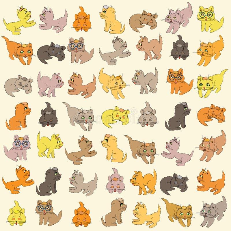 Uppsättning av kattungar. Redigerbar vektorillustration vektor illustrationer
