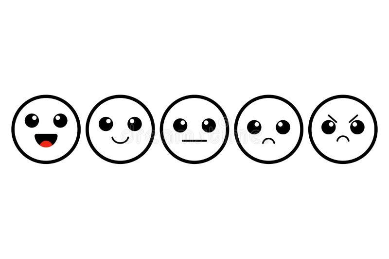 Uppsättning av kawaiemoji emoticons Gulliga översiktsframsidor värdering Kundåterkoppling också vektor för coreldrawillustration royaltyfri illustrationer