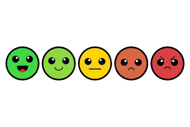 Uppsättning av kawaiemoji emoticons Gulliga färgrika framsidor värdering Kundåterkoppling också vektor för coreldrawillustration stock illustrationer