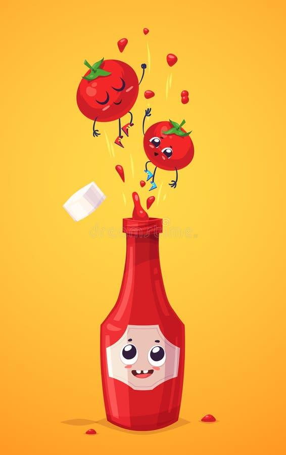 Uppsättning av ketchuptecken Gulliga tecknade filmer för vektor stock illustrationer
