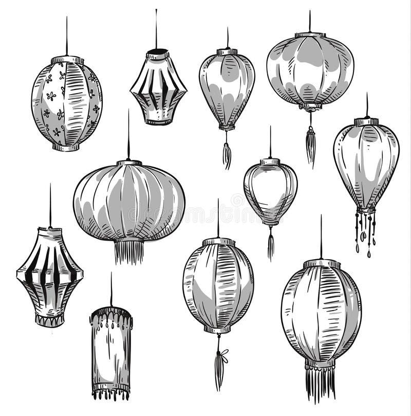 Uppsättning av kinesiska lyktor royaltyfri illustrationer