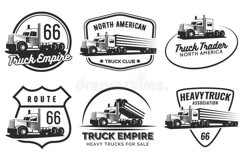 Uppsättning av klassisk logo, emblem och emblem för tung lastbil vektor illustrationer