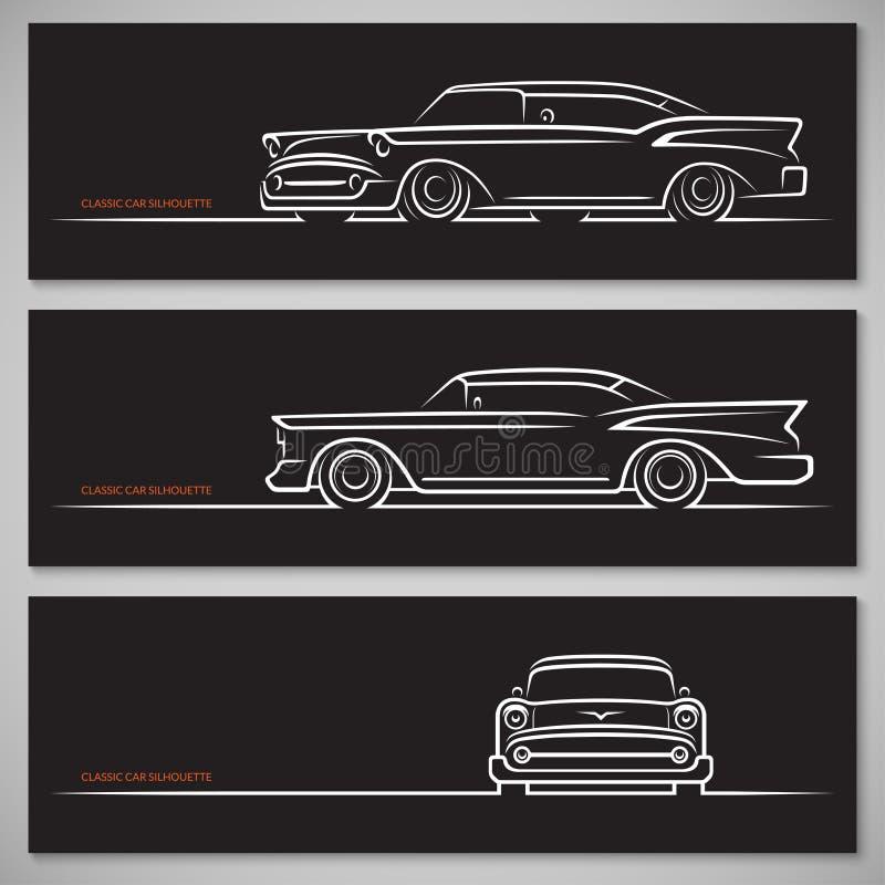Uppsättning av klassiska bilkonturer i amerikansk stil royaltyfri illustrationer