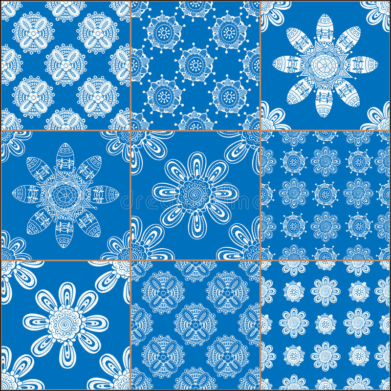Uppsättning av klassiska blåa keramiska tegelplattor royaltyfri illustrationer