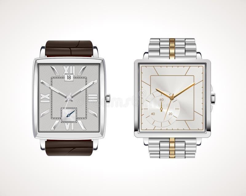 Uppsättning av klassiska och moderna mäns klockor vektor illustrationer