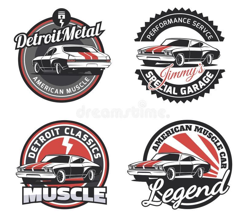 Uppsättning av klassiskt emblem, emblem och tecken för muskelbilrunda royaltyfri illustrationer