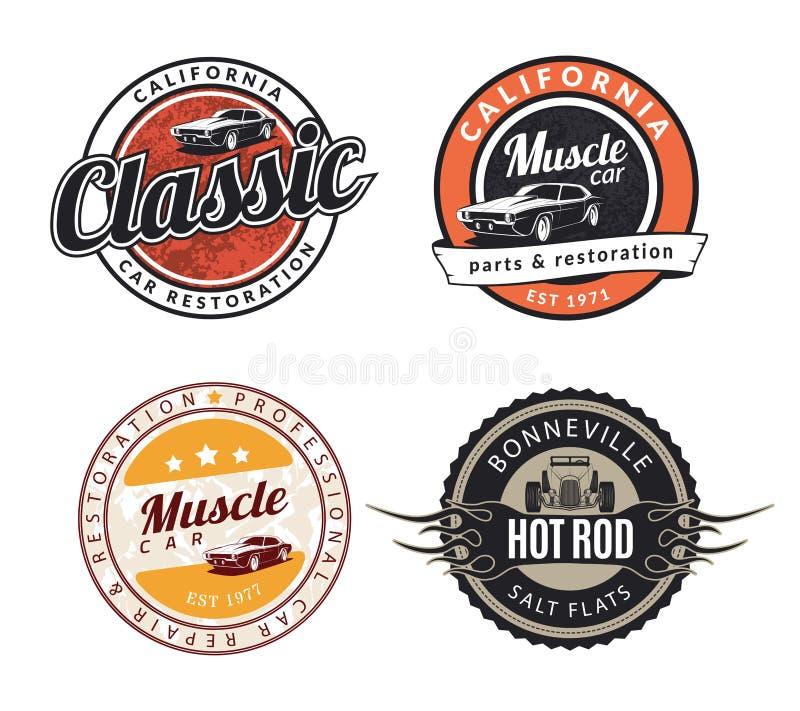 Uppsättning av klassiskt muskelbilemblem, emblem och tecken stock illustrationer
