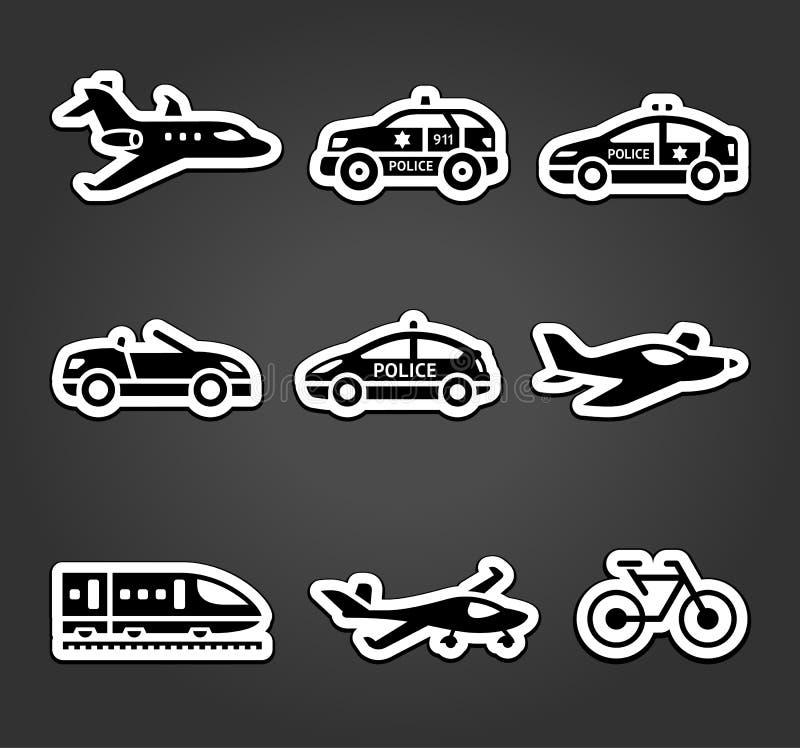 Uppsättning av klibbiga klistermärkear, transportpictograms vektor illustrationer