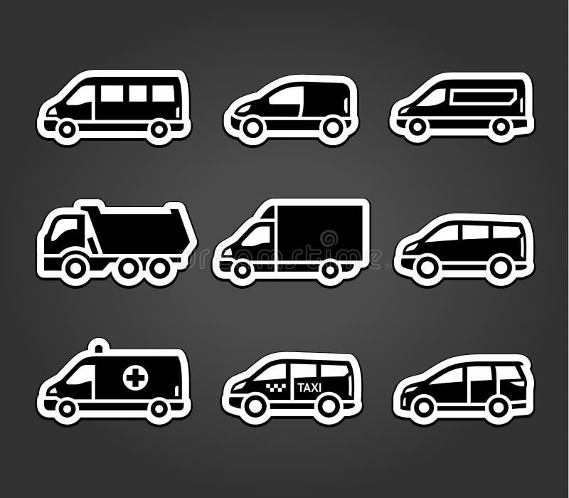 Uppsättning av klibbiga klistermärkear, transporttecken stock illustrationer