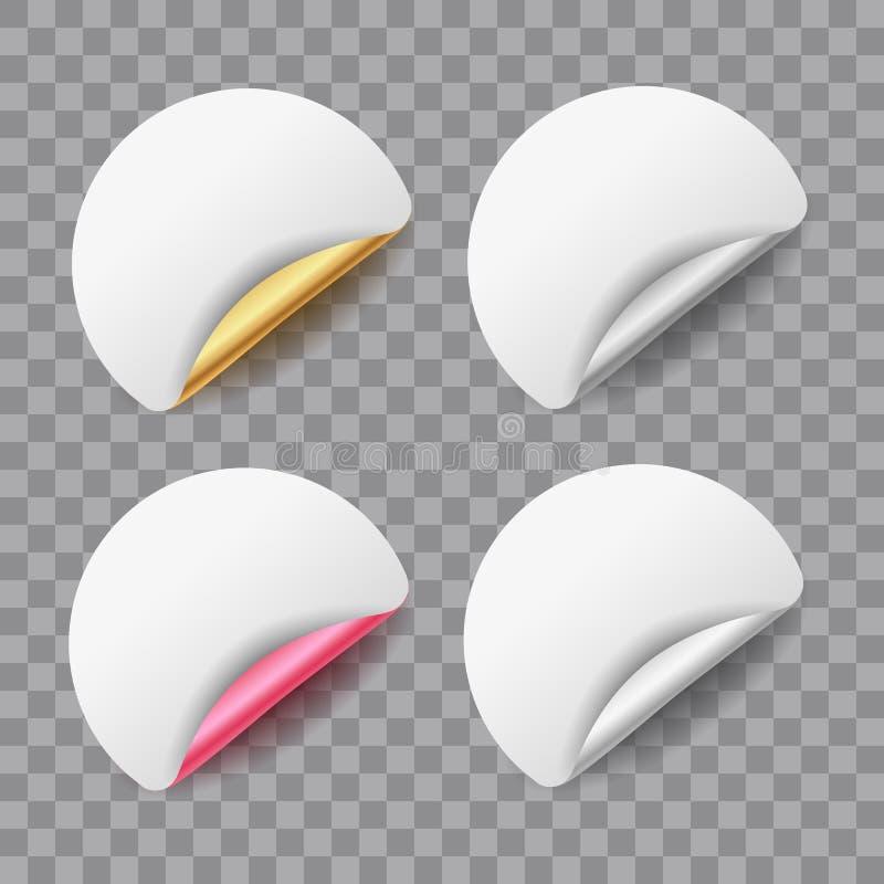 Uppsättning av klistermärkear eller etiketter för runda för vitbokvektormellanrum med metalliska skalande hörn som isoleras på ge stock illustrationer