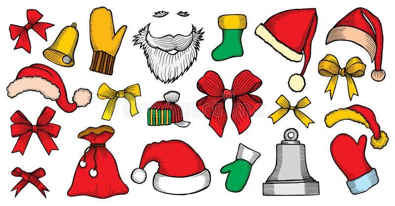 Uppsättning av klistermärkear för lyckligt nytt år vektor illustrationer