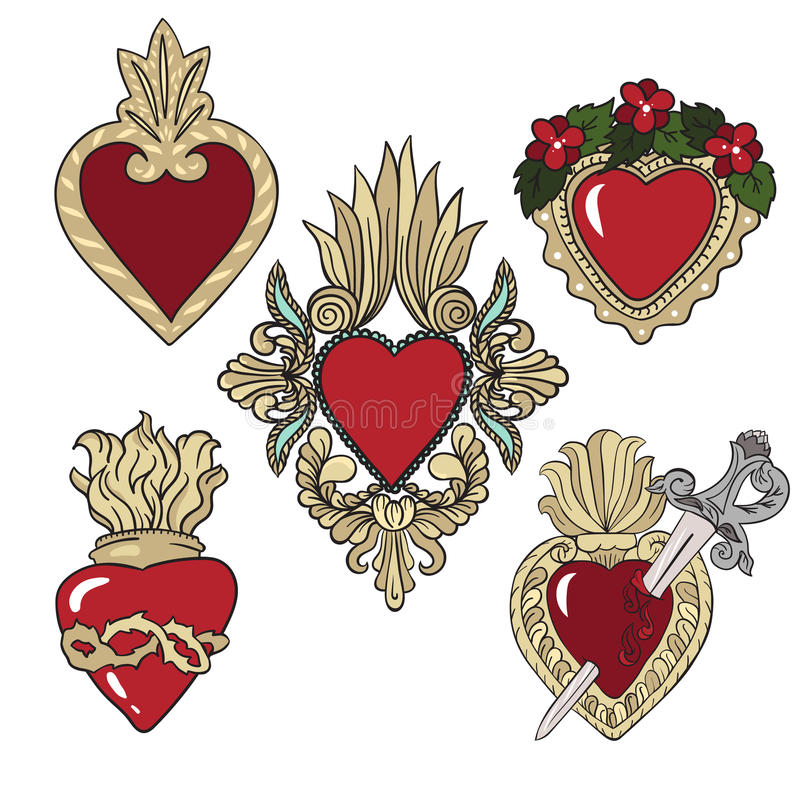 Uppsättning av klistermärkear med heraldiska hjärtor över vit bakgrund vektor illustrationer