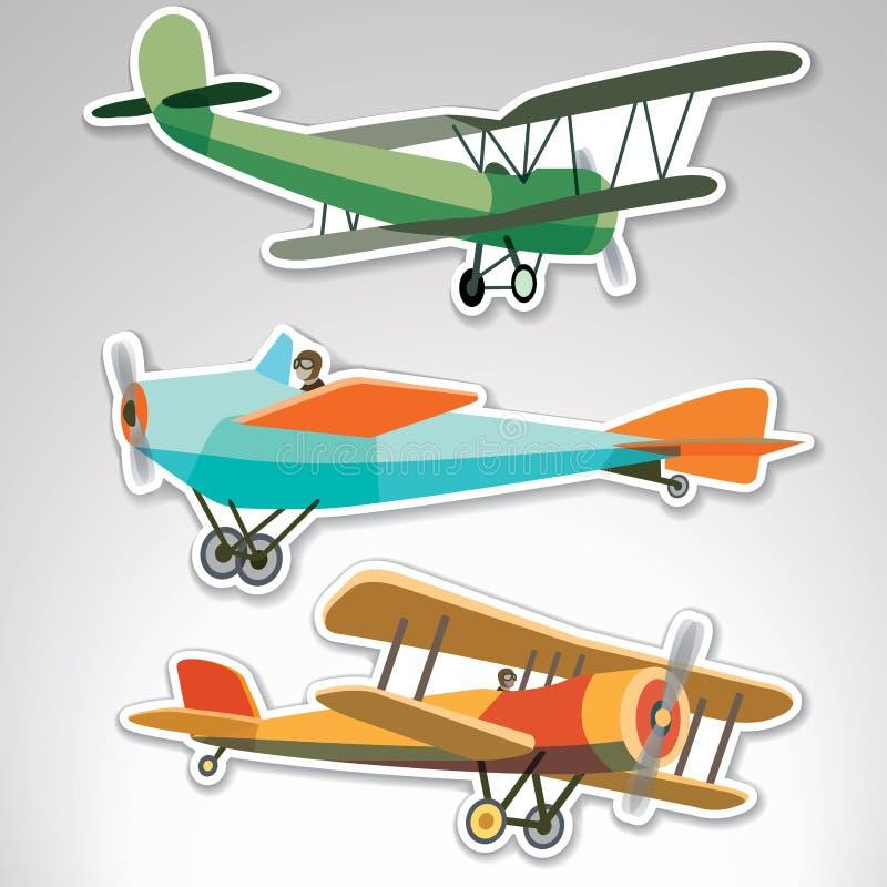 Uppsättning av klistermärkear med retroplanes vektor illustrationer
