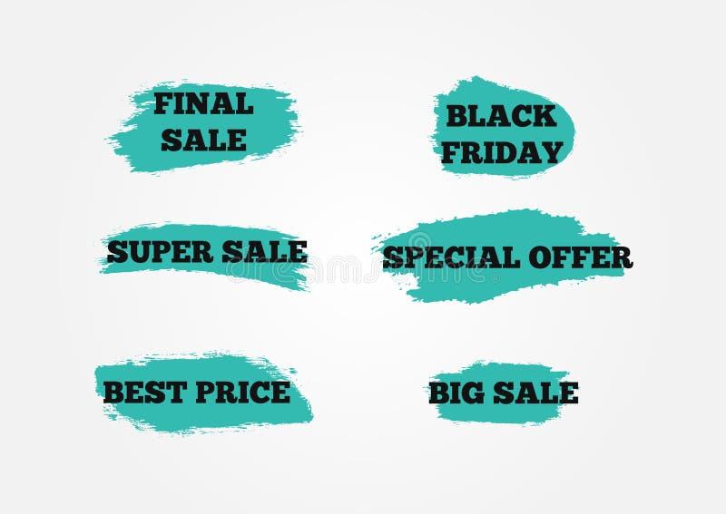 Uppsättning av klistermärkear sista stora toppna Sale, Black Friday, specialt erbjudande, bästa pris Bakgrund av blåttborsteslagl royaltyfri illustrationer