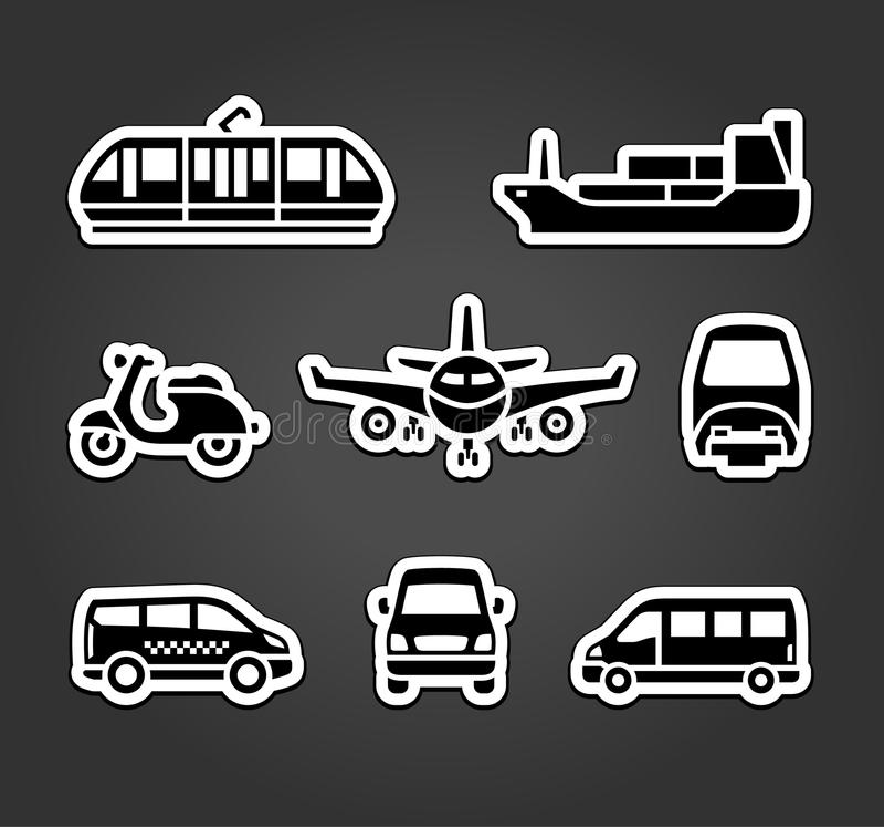 Uppsättning av klistermärkear, transporttecken vektor illustrationer