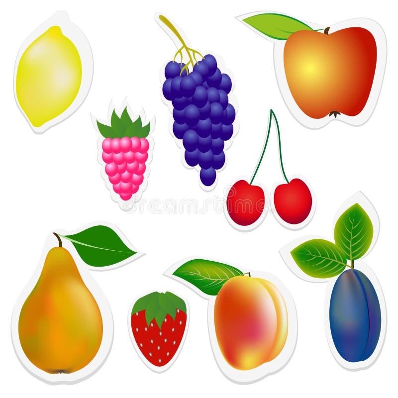 Uppsättning av klistermärkefrukter och bär royaltyfri illustrationer