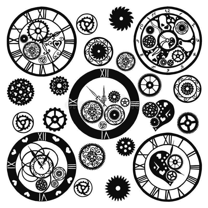 Uppsättning av klockor i den viktorianska stilen, dragen hand vektor vektor illustrationer