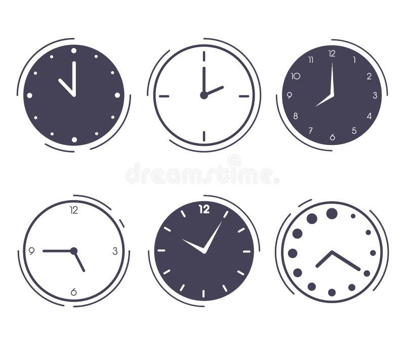 Uppsättning av klockor med olika visartavlor stock illustrationer