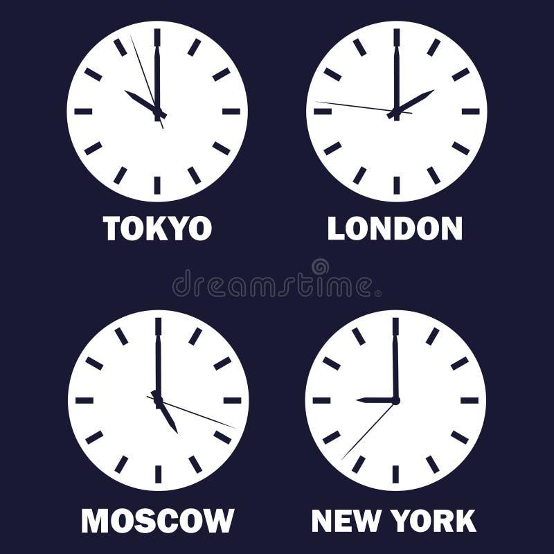 Uppsättning av klockor som visar tidskillnaden i olika tidszoner runt om klockaklockor som visar tidtimezonevärlden internationel royaltyfri illustrationer