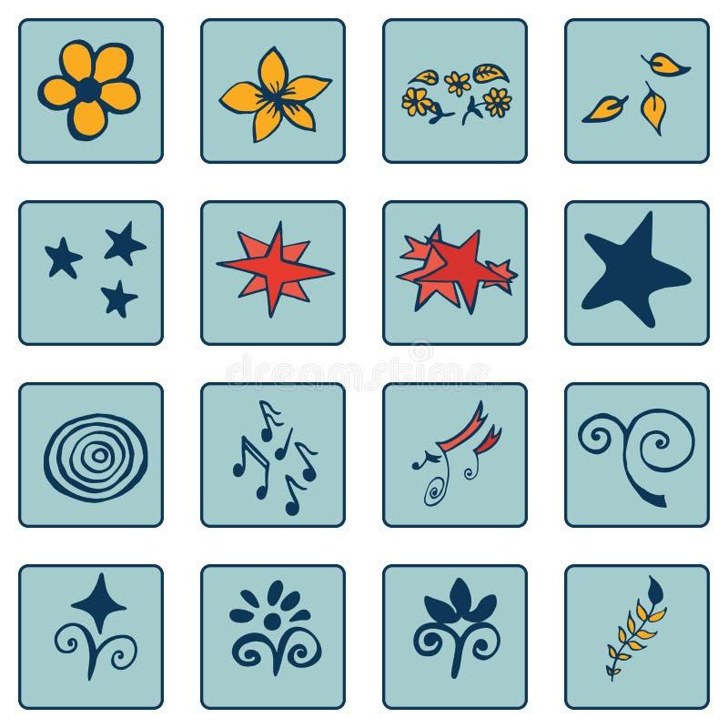Uppsättning av klotterfärg på blåa bakgrundssymboler, abstrakt begrepp royaltyfri illustrationer
