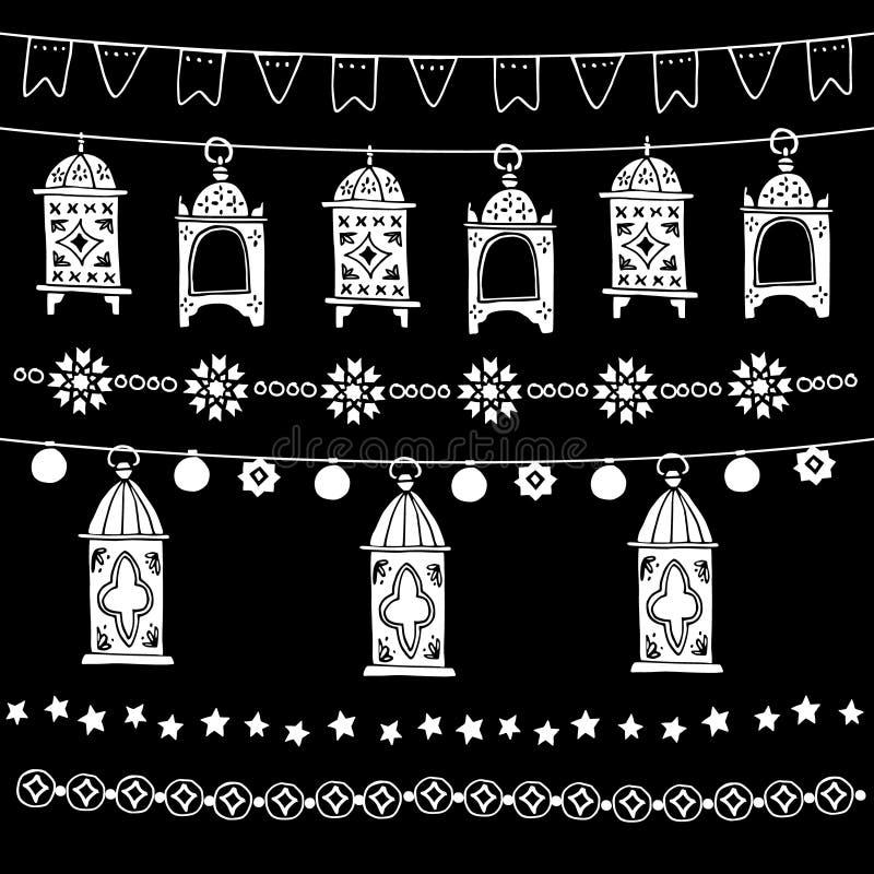 Uppsättning av klottergirlander, ramar med arabiska prydnader, bunting flaggor, stjärnor och utdragna lyktor för hand tomma expon vektor illustrationer