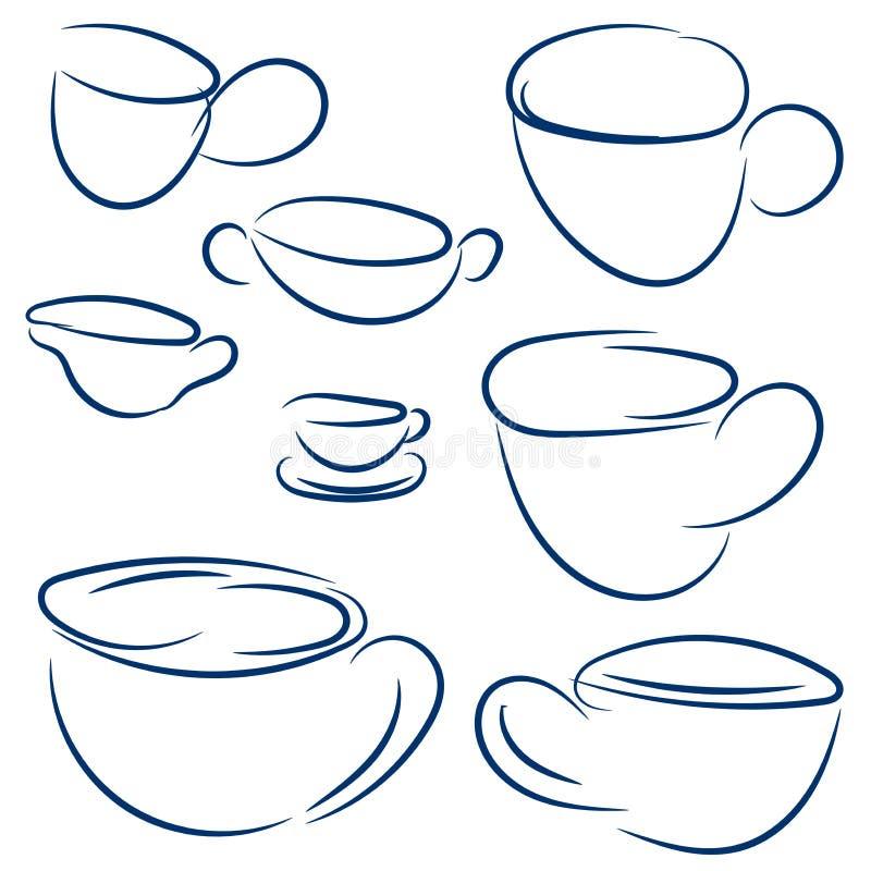 Uppsättning av klotterkoppar Vektorn skissar den blåa samlingen Räcka det utdragna abstrakta symbolet för kafé eller restaurang stock illustrationer