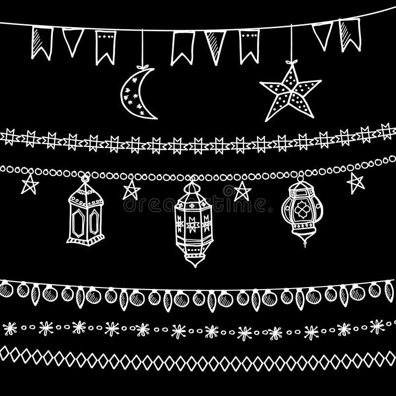 Uppsättning av klotterkritagirlander, måne, stjärnor, flaggor, arabiska lyktor royaltyfri illustrationer