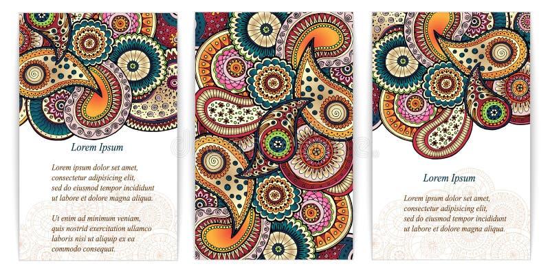 Uppsättning av klotterpaisley affischer för din affär royaltyfri illustrationer