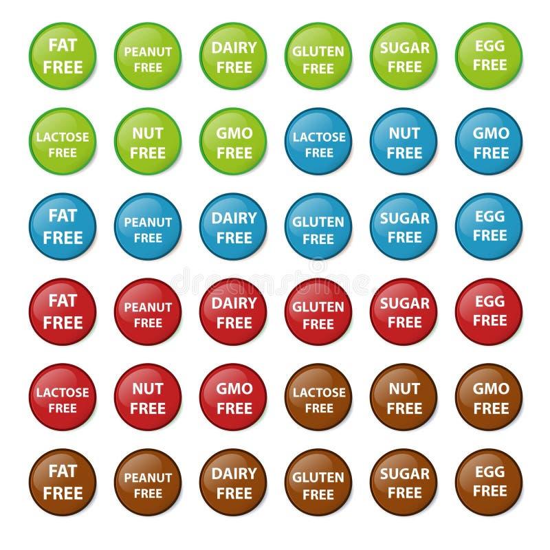 Uppsättning av knappar med det fria tecknet stock illustrationer