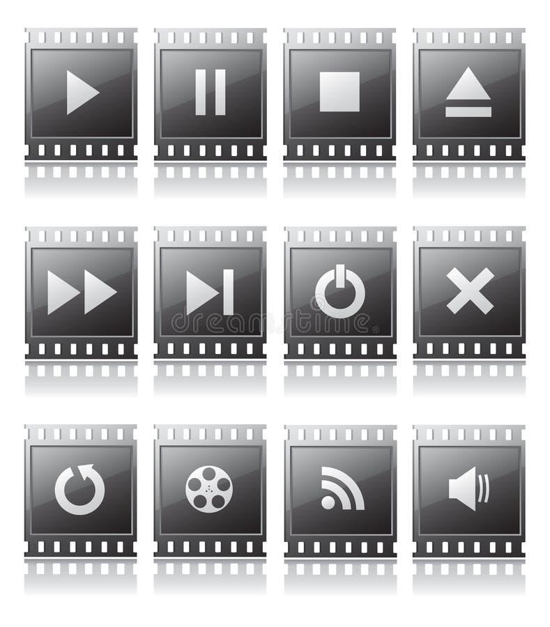 Uppsättning av knappar med symboler royaltyfri illustrationer