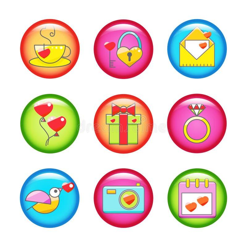 Uppsättning av knappar med valentin dagsymboler stock illustrationer