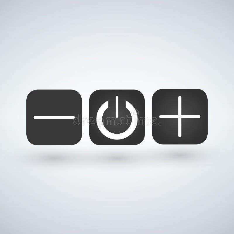Uppsättning av knappströmbrytareregulatorer på av vektor illustrationer