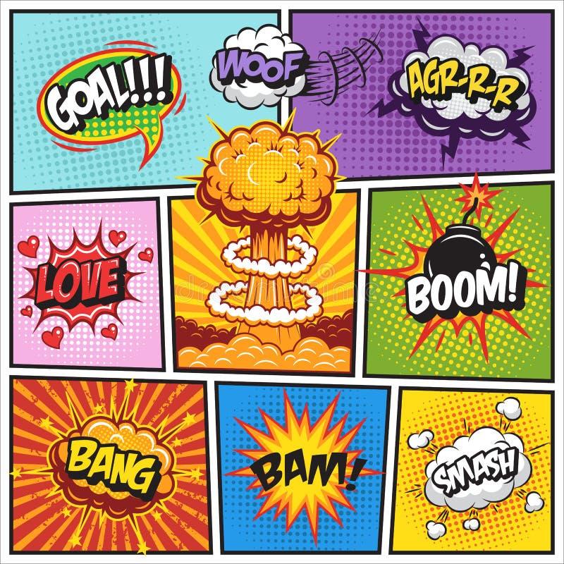 Uppsättning av komiker anförande och explosionbubblor 2 stock illustrationer