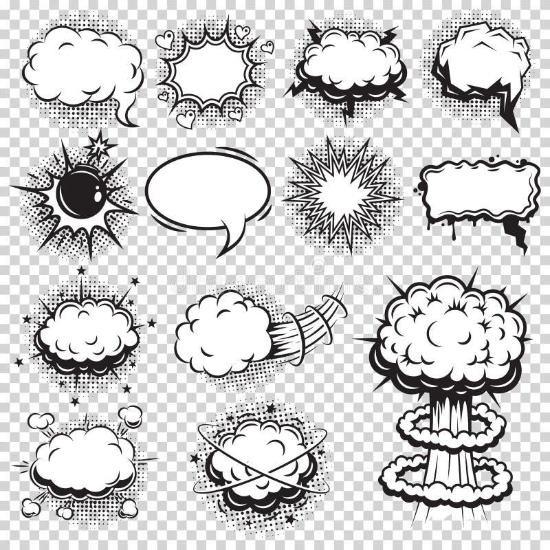 Uppsättning av komiker anförande och explosionbubblor royaltyfri illustrationer