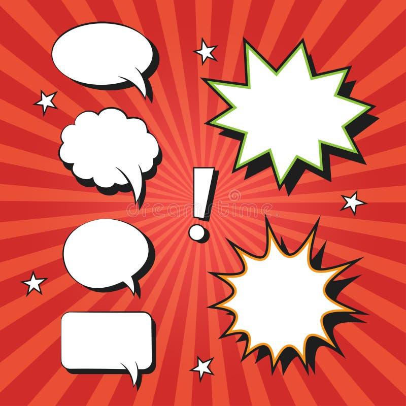 Uppsättning av komiska anförandebubblor och beståndsdelar royaltyfri illustrationer