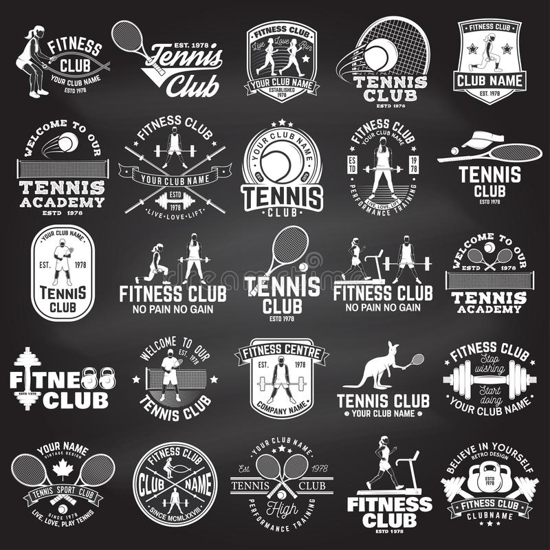 Uppsättning av kondition- och tennisklubbabegreppet med flickor som gör övning och tennisspelarekonturn vektor illustrationer