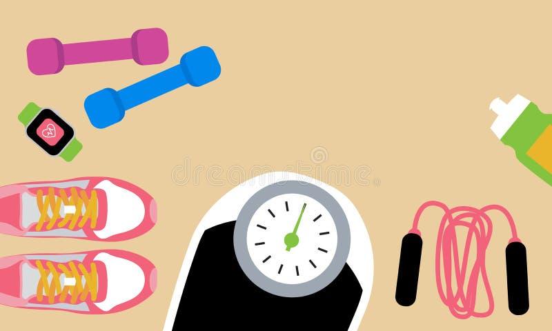 Uppsättning av konditionhjälpmedel stock illustrationer