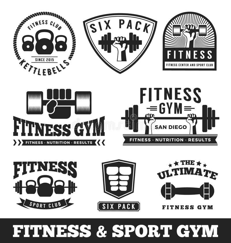 Uppsättning av konditionidrottshallen och emblemet för logo för sportklubba vektor illustrationer